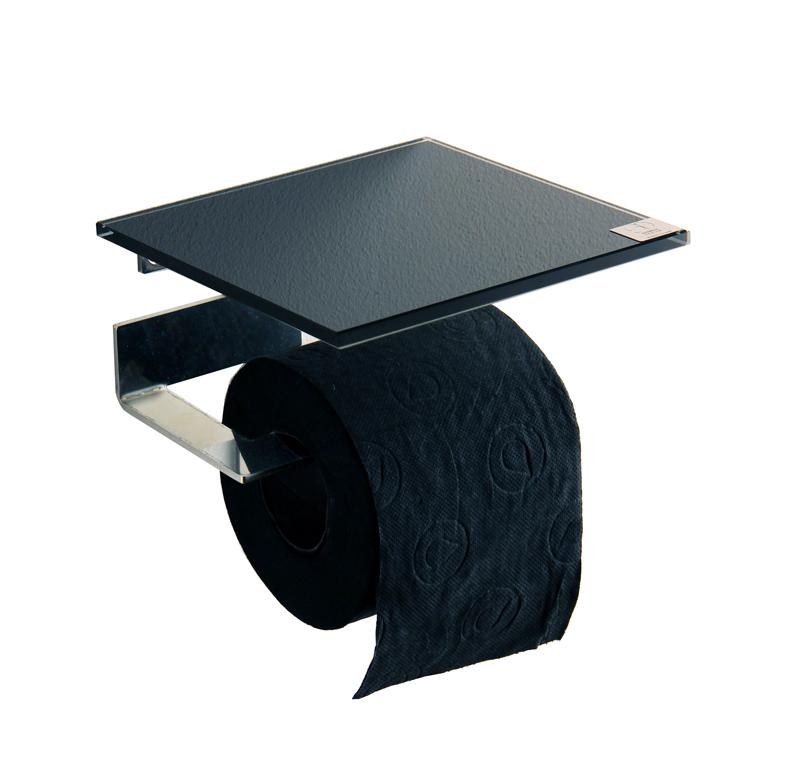 azizumm shop f r modernes design rollenhalter edelstahl glas schwarz abstellfl che quadr. Black Bedroom Furniture Sets. Home Design Ideas