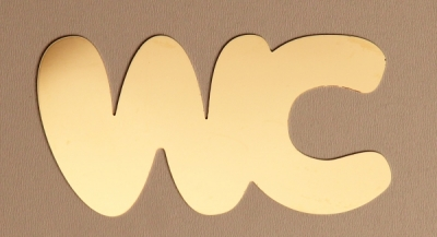 "Door sign ""WC"" gold high-gloss"