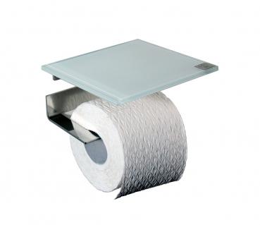 azizumm shop f r modernes design rollenhalter edelstahl glas wei. Black Bedroom Furniture Sets. Home Design Ideas